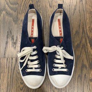 Prada navy blue suede sneakers. Size 37.5.